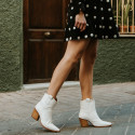 white leather ankle boots Given