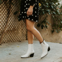 White leather tanks ankle boots GIVEN