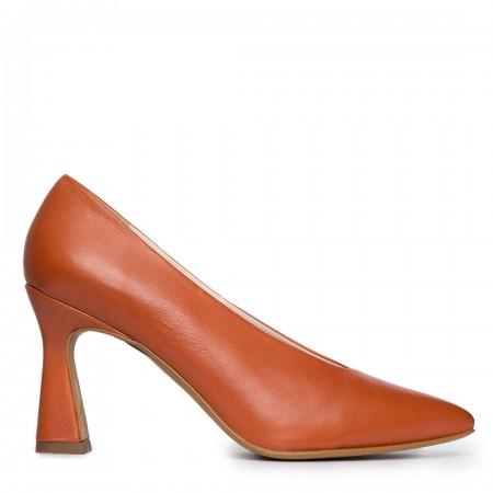 Zapato tacón piel teja Sin