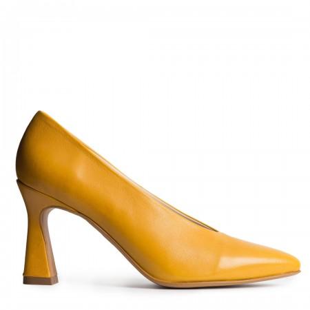 zapato tacón piel ocre Sin