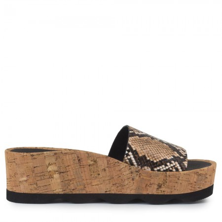 Sandalia plataforma piel serpiente marrón RUBI