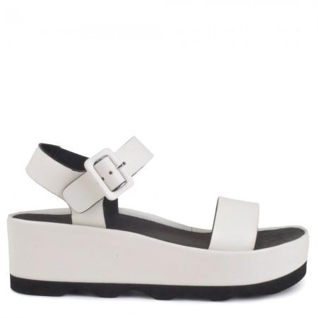 Sandalia plataforma piel blanco RUBI