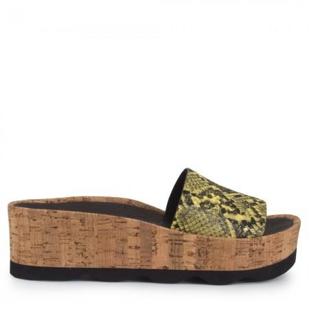 Sandalia plataforma piel serpiente lima RUBI