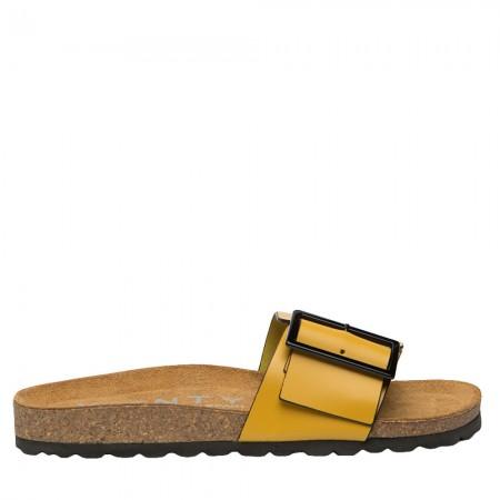 Sandalia plana Bio piel amarillo