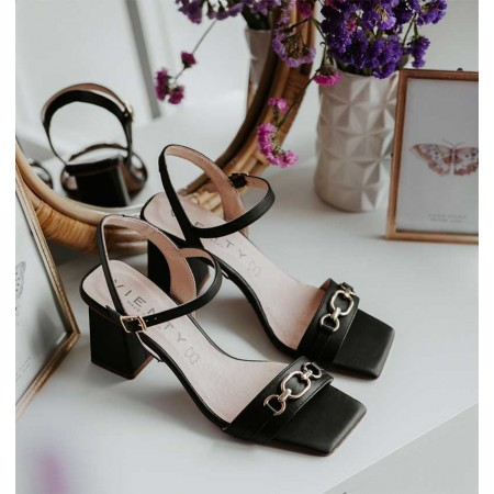 heeled sandals in black leather Ani