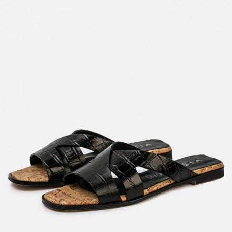 Sandalia plana Jimena coco negro