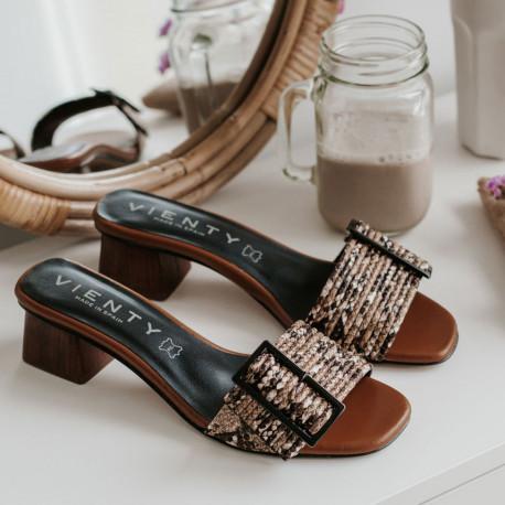 Sandalia tacón Melinda serpiente marrón