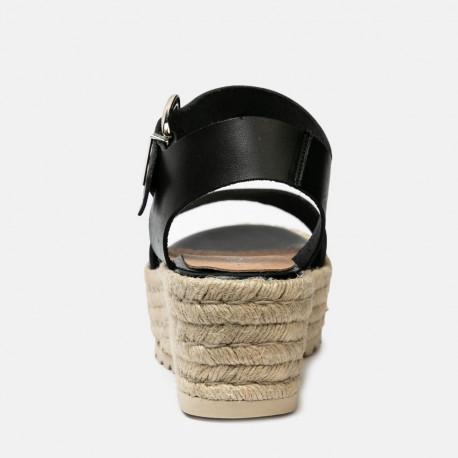 Sandalia piel cuña rafia negro