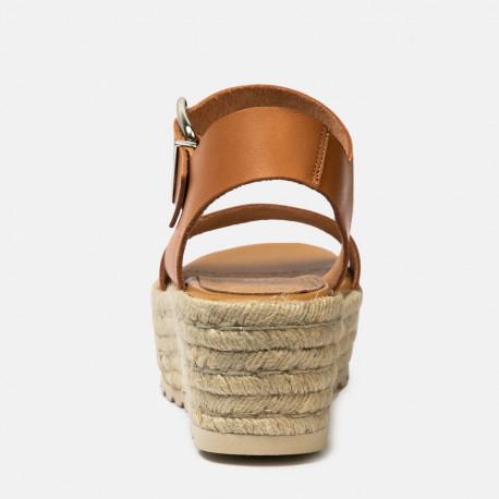sandalia piel cuña rafia cuero