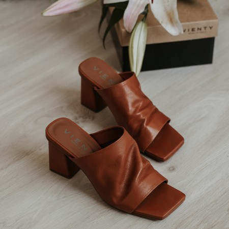 Mule sandals in brown leather Ani