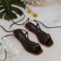 Sandalia plana cordones piel negro Jimena