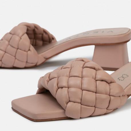 Sandalia tacón bellie trenza nude