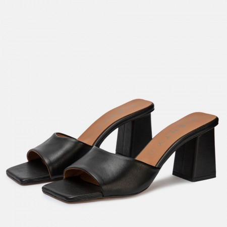 Sandalia mule tacón piel negro ANI