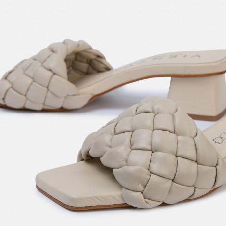 Sandalia tacón Bellie trenza beige