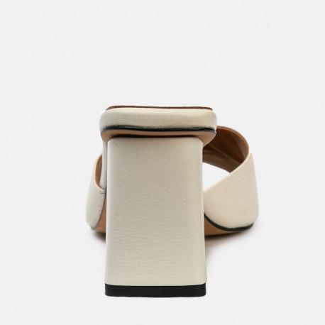 Sandalia mule tacón piel Ani beige