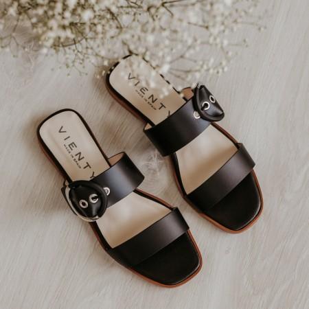 Sandalia plana piel negro JIMENA