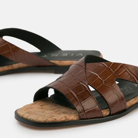 Sandalia plana Jimena Coco marrón