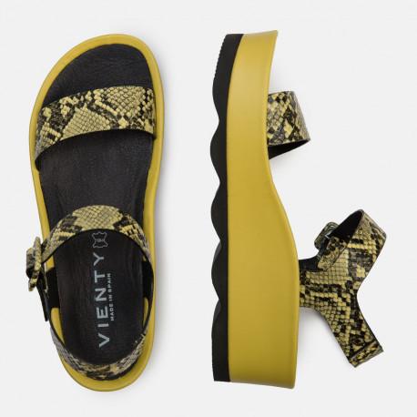 Sandalia plataforma bio serpiente amarillo RUBÍ