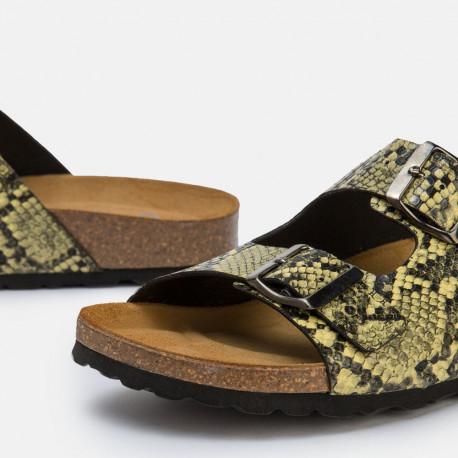 Sandalia plana bio serpiente beige
