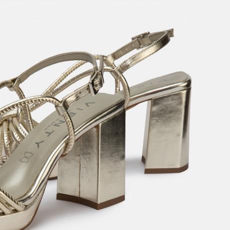 Sandalia tacón piel platino JIM