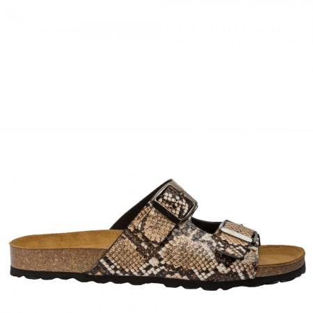 Sandalia plana bio serpiente marrón
