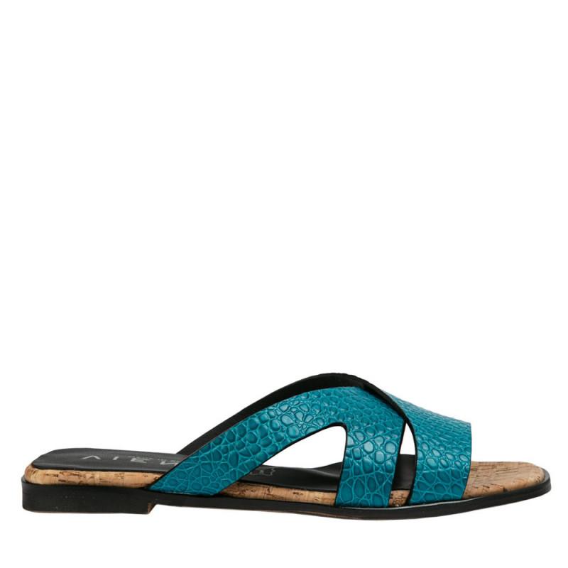Sandalia plana Jimena coco azul