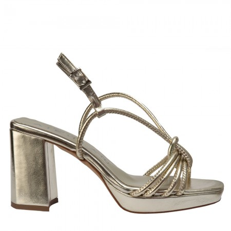 high heel sandals in gold leather JIM