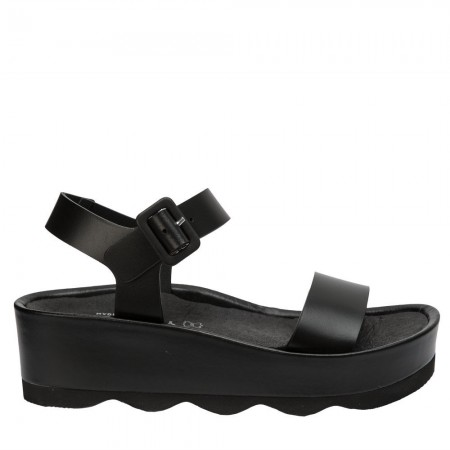 Sandalia plataforma Rubi piel negro