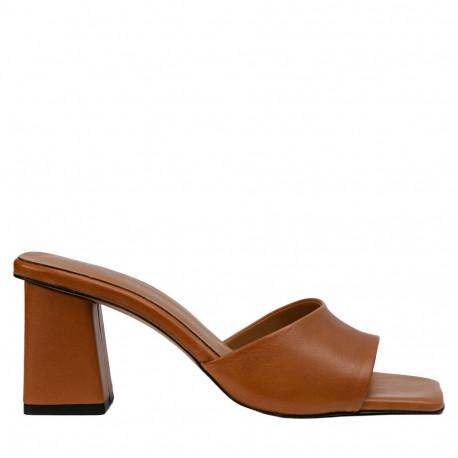Sandalia mule tacón Ani piel cuero
