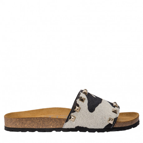 Sandalia plana bio pon blanco negro