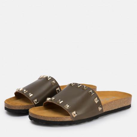 Sandalia plana bio piel kaki