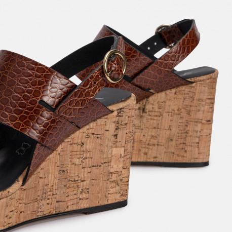 Sandalia plataforma piel coco marrón DORIA