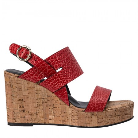 Sandalia plataforma piel coco rojo DORIA
