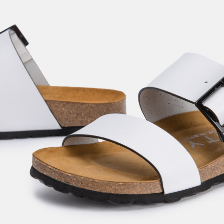 Sandalia bio piel blanco