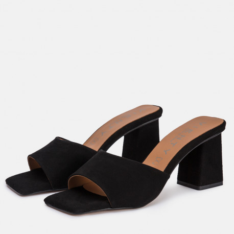 Sandalia mule tacón ante negro ANI