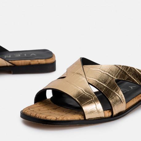 Sandalia plana coco oro JIMENA