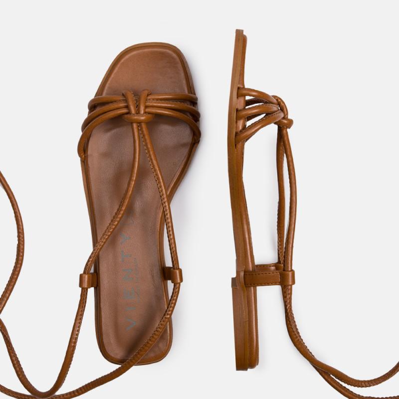 Sandalia plana piel marrón JIMENA