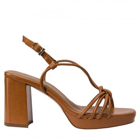 Sandalia tacón piel marrón JIM