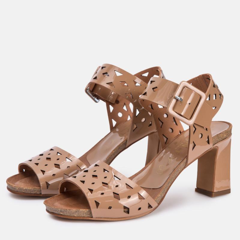 Sandalia tacón piel Rosa SANTORINI