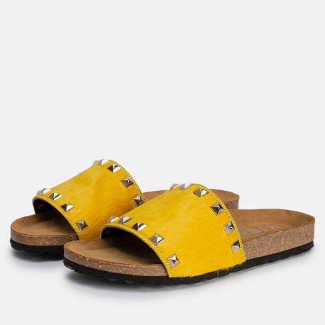 Sandalia plana bio pon blanco amarillo
