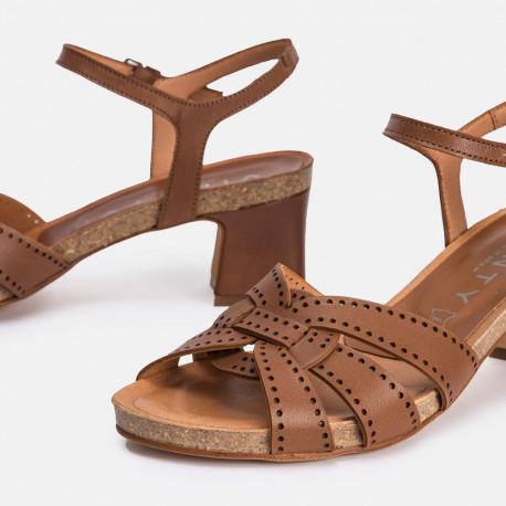 Sandalia tacón piel cuero Mikonos