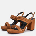 High heel sandals with straps in brown leather
