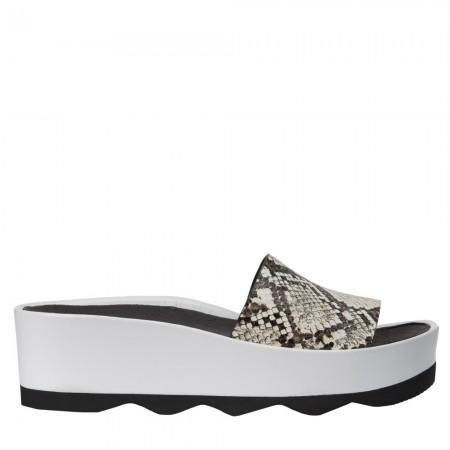 Sandalia plataforma Rubi piel serpiente blanco