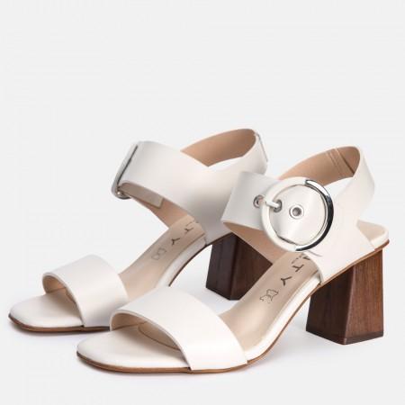 Sandalia tacón piel blanco AMANDA