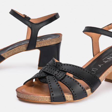 Sandalia tacón piel negro Mikonos