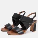 Sandalia tacón piel negro SANTORINI