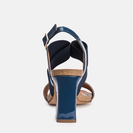 Sandalia tacón charol marino SANTORINI