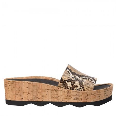 Sandalia plataforma bio serpiente marrón RUBI