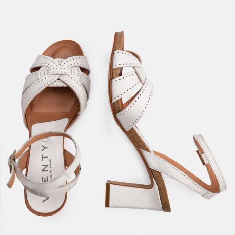 Sandalia tacón piel blanco SANTORINI
