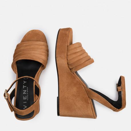 Sandalia plataforma ante cuero DORIA